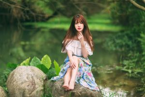asian depth of field barefoot model brunette stones women sitting