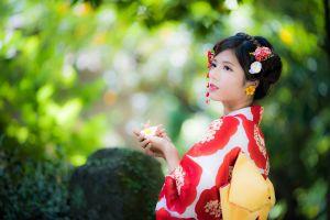 asian women model brunette depth of field