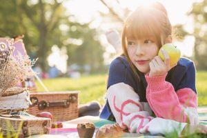 asian women outdoors apples