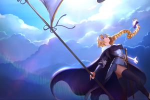 banner fate/apocrypha  clouds blue eyes warrior girls fate/grand order ruler (fate/grand order) ruler (fate/apocrypha) sky sword long hair blonde fate series jeanne d'arc (fate)