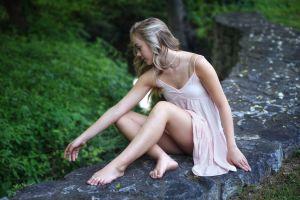 barefoot blonde women outdoors model plants feet women