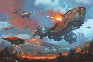 battle artwork science fiction sky vehicle explosion