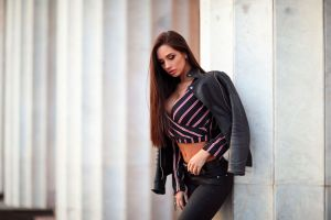 belly slim body leather jackets jeans women outdoors long hair open jacket black jackets black pants straight hair pink lipstick cleavage black clothing black clothes belt