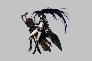 belt hoods cleavage long hair anime girls gun coats shorts black rock shooter simple background boots twintails bikini top black rock shooter (series) blue eyes