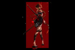 black background horns weapon katana red women artwork minimalism black digital art fantasy girl fantasy art illustration demon girls necklace