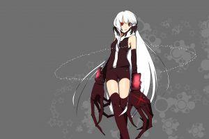black rock shooter (series) anime girls thigh-highs heterochromia anime long hair white hair simple background strength (black rock shooter)