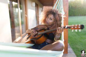 black women farmhouse black tops suicide girls guitar brunette model ebony hammocks women women outdoors grass inked girls plants bare shoulders