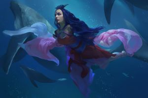 blue artwork digital art illustration long hair swimming animals fu chenqi whale drawing underwater fantasy art deep sea women kimono