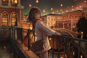 blue eyes drawing smile balcony anime night city lights lamp lights digital art city digital artwork anime girls painting