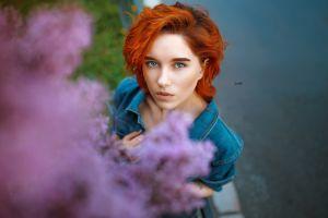 blue eyes plants women outdoors portrait women alexander drobkov model face redhead looking at viewer