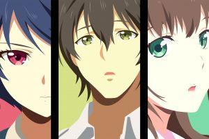 blue hair face tachibana rui (domestic na kanojo) red eyes domestic na kanojo green eyes anime girls anime boys collage