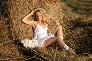 bokeh hay model closed eyes women with hats baskets straw hat women outdoors anna shuvalova outdoors women white dress straw flowers blonde