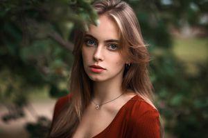 bokeh women face aleksandr kurennoi depth of field blonde portrait necklace women outdoors pink lipstick looking at viewer blue eyes blurred
