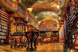 books prague historic artwork painting stairs national library shelf czech republic library gold photography globe ornamented