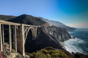 bridge sea bixby creek bridge coastline california viaduct landscape clear sky