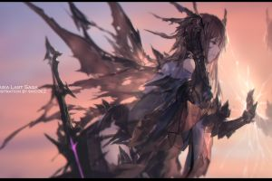 brunette artwork anime girls fan art fantasy girl digital art illustration wings sword anime swd3e2 pixiv fantasia long hair drawing mirrored
