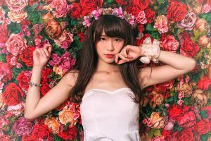 brunette asian model white dress flower crown women bracelets flowers