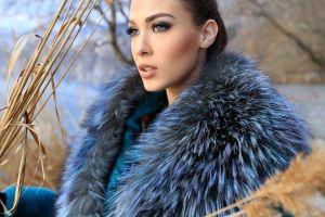 brunette coats women fur open mouth looking into the distance model blue coat green eyes