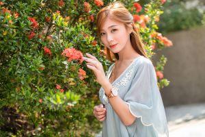 brunette long hair asian model women flowers depth of field