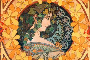 brunette painting face women long hair artwork portrait art deco profile mosaic leaves alphonse mucha traditional art