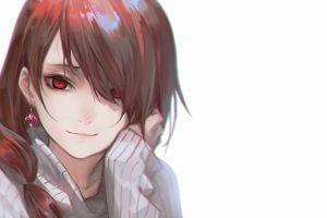 brunette smiling anime girls red eyes simple background anime white background face
