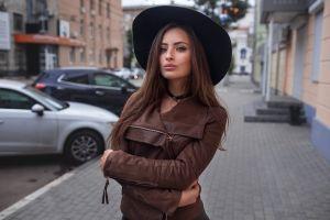 brunette veronica (dmitry sn) women portrait street hat leather jackets brown jacket veronika avdeeva dmitry sn outdoors dmitry shulgin depth of field model urban