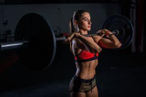 brunette women fitness model weightlifting