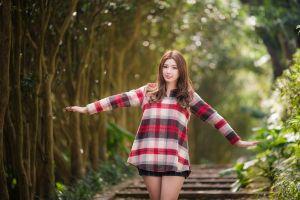 brunette women model asian depth of field