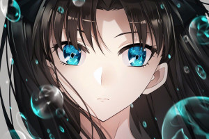 bubble fate/stay night: unlimited blade works tohsaka rin long hair anime girls