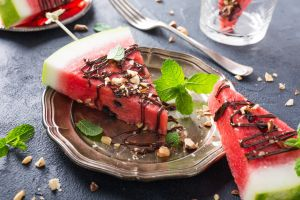 cake fork mint leaves watermelons food sweets