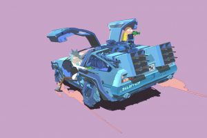 car rick and morty time machine vehicle simple background delorean