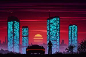 car sky cityscape digital painting city lights sunset silhouette dusk evening tower cyberpunk futuristic building vector graphics
