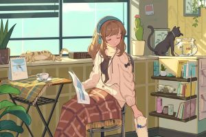 cats indoors brunette anime animals anime girls sitting headphones