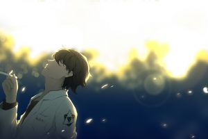 cigarettes lightning anime blurred looking up particle