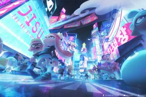 city road street digital art japanese nintendo splatoon video games