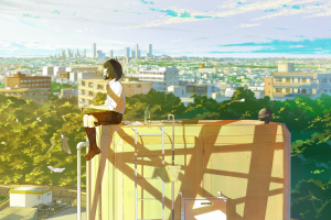 city short hair clouds original characters trees anime girls black hair sky anime