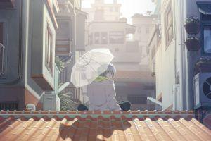 city umbrella anime anime boys rooftops