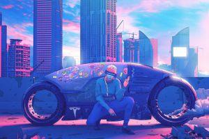 cityscape artwork futuristic vehicle