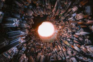 cityscape asia digital art hong kong