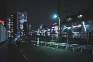 cityscape night tokyo urban train japan street moody asia