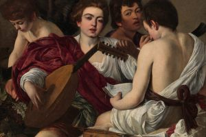 classic art people men violin artwork painting caravaggio face bare shoulders musical instrument musical notes
