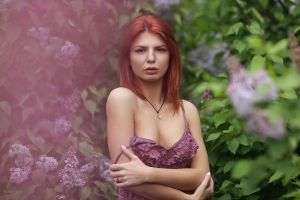 cleavage painted nails no bra vladimir lapshin plants portrait bare shoulders looking at viewer necklace women outdoors bokeh model outdoors arms crossed redhead