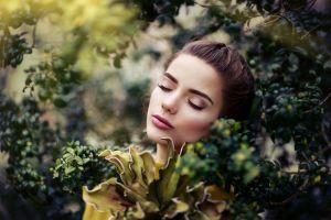 closed eyes plants women model brunette