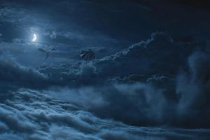 clouds moon fantasy art a song of ice and fire game of thrones dragon