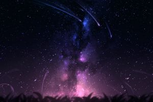 clouds stars night digital art sky meteors artwork