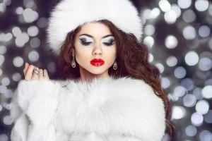 coats long hair white coat fur coats glamour juicy lips red lipstick brunette smoky eyes glamour women model makeup women