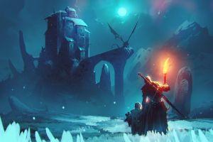cold artwork winter ruins dragon