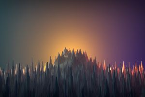 colorful low poly cgi render mountains 3d abstract gradient