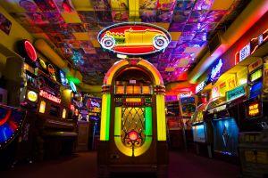colorful retro games arcade