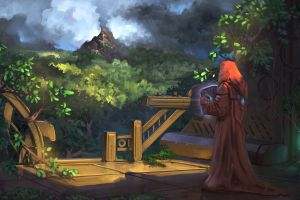 concept art men sheet books mantle sorcerer forest jeremy adams nature dark gazebo